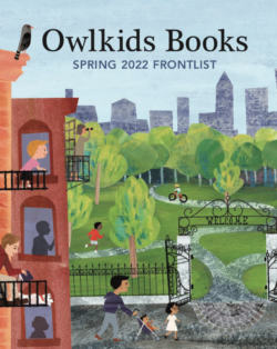 Owlkids Books Spring 2022 catalog cover featuring a park scene